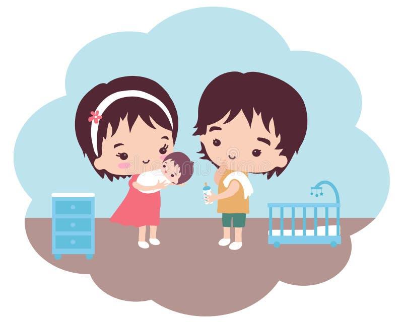 Unga föräldrar tar omsorg av deras lilla son stock illustrationer