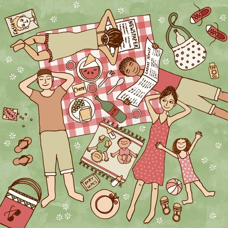 Unga familjer med deras barn som har picknicken stock illustrationer
