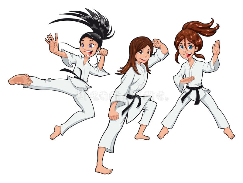 unga flickakaratespelare stock illustrationer