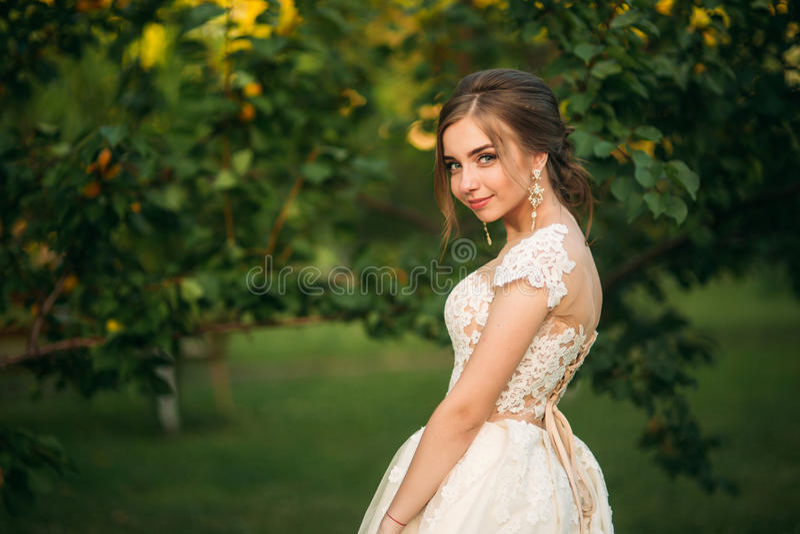 Unga flickan i bröllopsklänning parkerar in att posera för fotograf Soligt väder, sommar royaltyfria foton