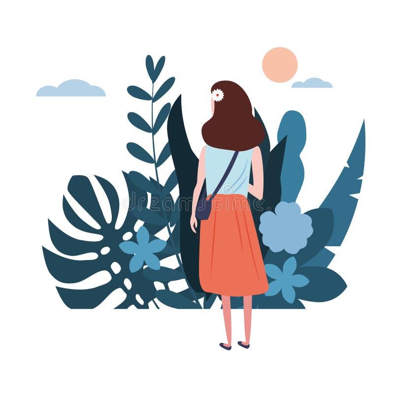 Unga flickan i en blå T-tröja går omkring hans affär Blom- sidor för bakgrundsflorablommor Plana tecknade filmer för trenddesign vektor illustrationer
