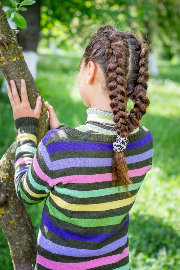 Unga flickan med flätade råttsvansar i trädgårds- near träd tycker om na fotografering för bildbyråer