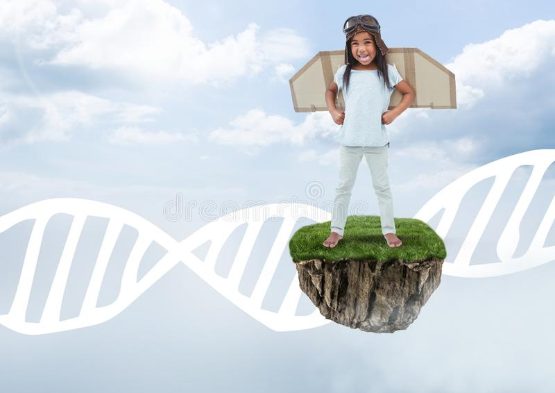 Unga flickan på att sväva vaggar plattformen i himmel med vingar och DNAdiagrammet royaltyfri illustrationer