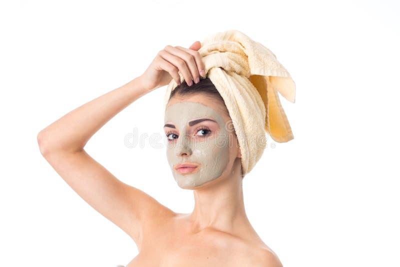 Unga flickan tar att bry sig hennes hud arkivbilder