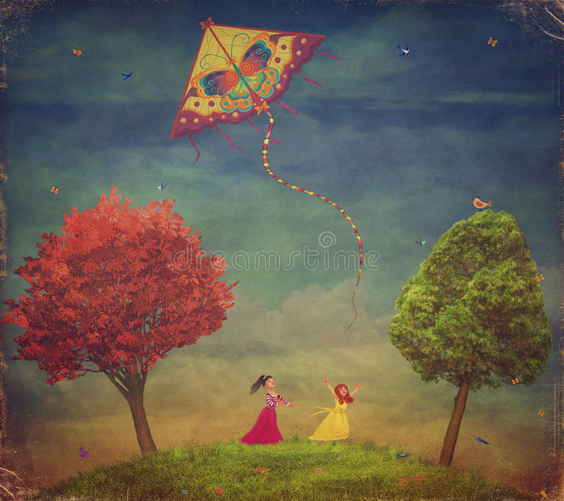 Unga flickor bland träd på fältet med draken stock illustrationer