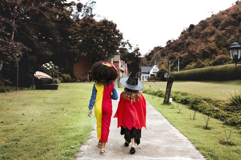 Unga flickor i allhelgonaaftondräkter royaltyfri foto