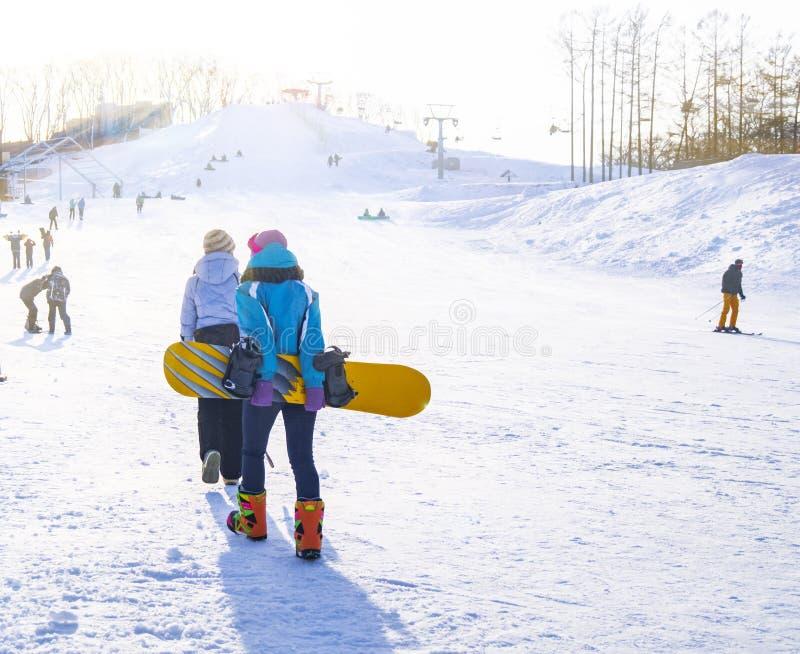Unga flickor i speciala dräkter för vintergyckel- och vintersportar klättrar kullen för att lära hur till snowboarden på en solig arkivfoto