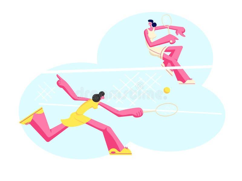 Unga flickor i Sportswear spelar stor tennis på domstolen Idrottskvinnor som rymmer racket som slår bollen över korgen, utomhus-  vektor illustrationer