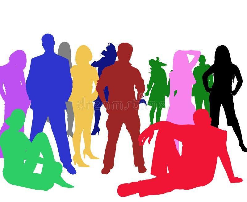 unga gruppfolksihouettes stock illustrationer