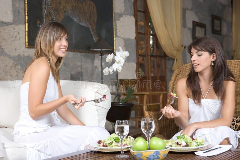 unga härliga äta avkopplade kvinnor royaltyfria bilder