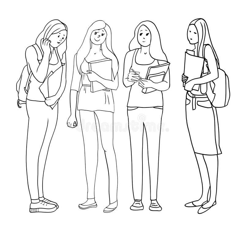 Unga härliga flickor royaltyfri illustrationer