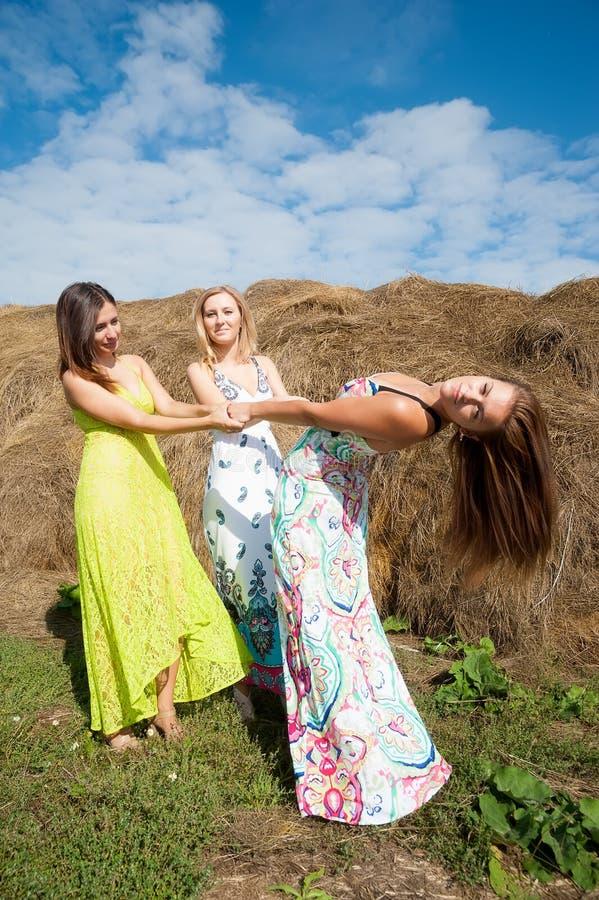 Unga härliga kvinnor kopplar av på hö arkivfoton