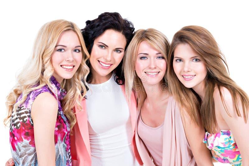 Unga härliga le kvinnor för grupp royaltyfri foto