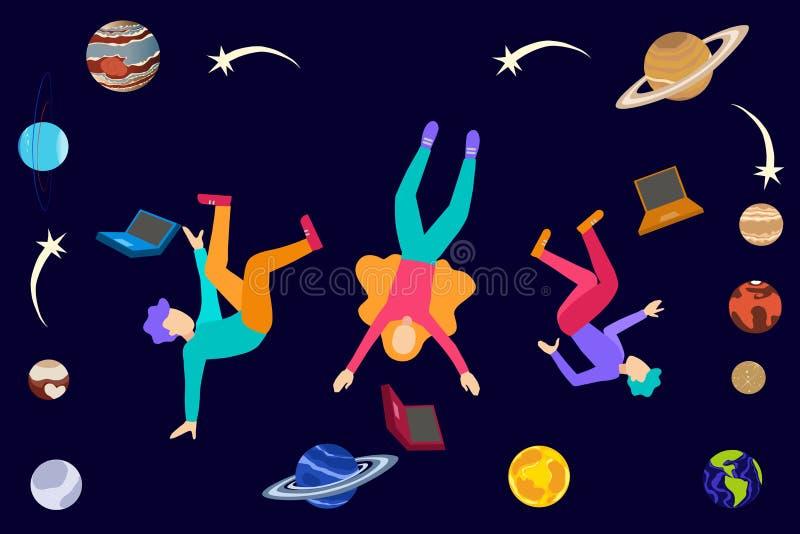 Unga högskolestudenter som svävar i utrymme med bärbara datorer planeter och skyttestjärnor, astronomi som lär kurs stock illustrationer