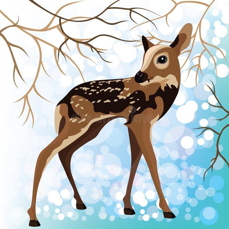 Unga hjortar i en vinterskog, vektorillustration stock illustrationer
