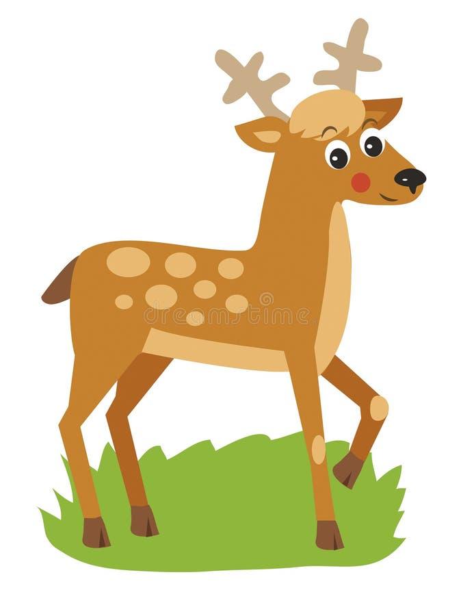 Unga hjortar med horn också vektor för coreldrawillustration royaltyfri illustrationer