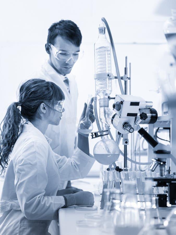 Unga kemister som forskar i vetenskaperna om olika organismers beskaffenhetlaboratorium arkivbild