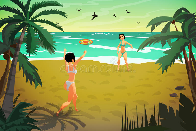 Unga kvinnor är förlovade i sportar på stranden Flickor i en bikin stock illustrationer