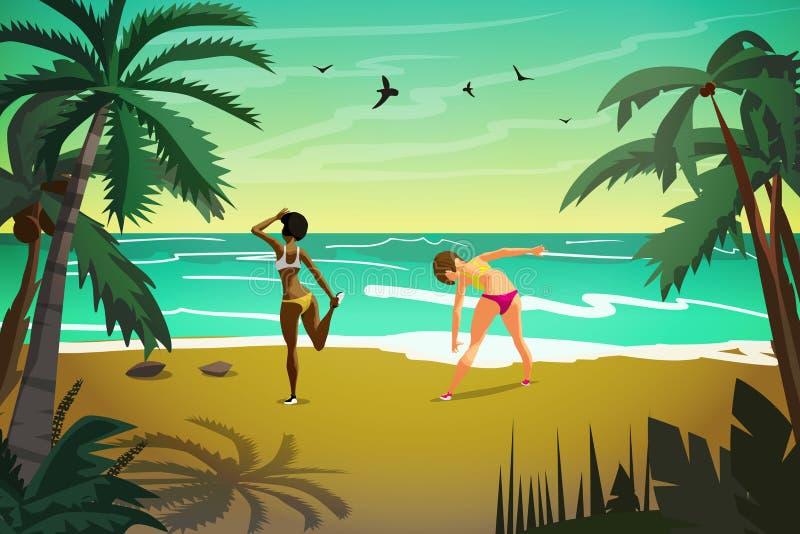 Unga kvinnor är förlovade i sportar på stranden Flickor värmer upp vektor illustrationer