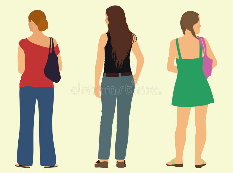 Unga kvinnor bakifrån stock illustrationer