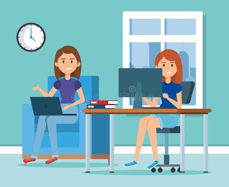 Unga kvinnor i arbetsplatsplatsen royaltyfri illustrationer