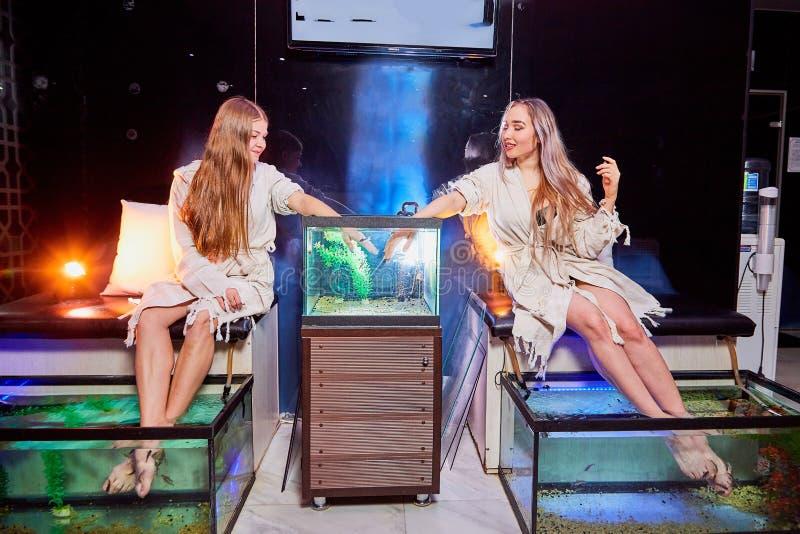Unga kvinnor i sk?nhetsalong Fiskpedikyr och manikyr i ny modern brunnsortbehandling med h?rligt ljus royaltyfri fotografi