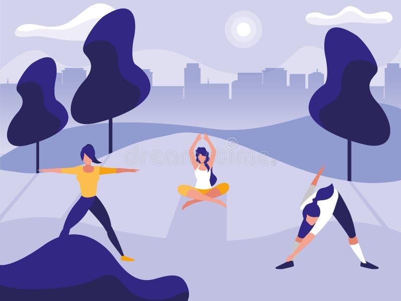 Unga kvinnor som öva utomhus- idrottshall vektor illustrationer