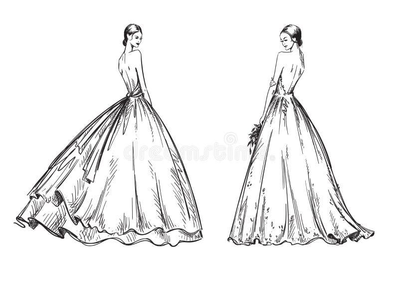 Unga kvinnor som bär bröllopsklänningar Brud- blickmodeillustration vektor illustrationer
