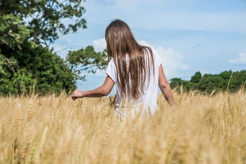 Unga kvinnor som går till och med ett guld- ogräsfält. Argentina bygd. arkivbilder