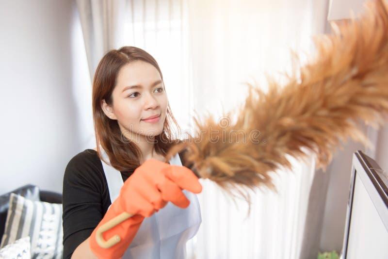 Unga kvinnor som hemma gör ren, rengörande tjänste- begrepp royaltyfria bilder