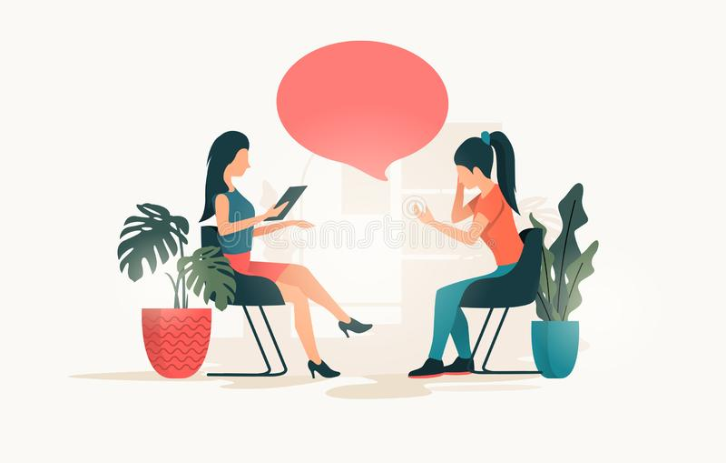 Unga kvinnor som talar till en terapeut vektor illustrationer