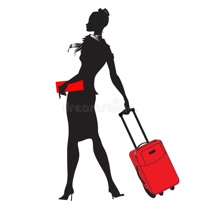 Unga kvinnor/stewardesssilhouette royaltyfri illustrationer
