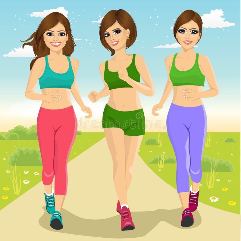 Unga löparekvinnor som utomhus kör vektor illustrationer