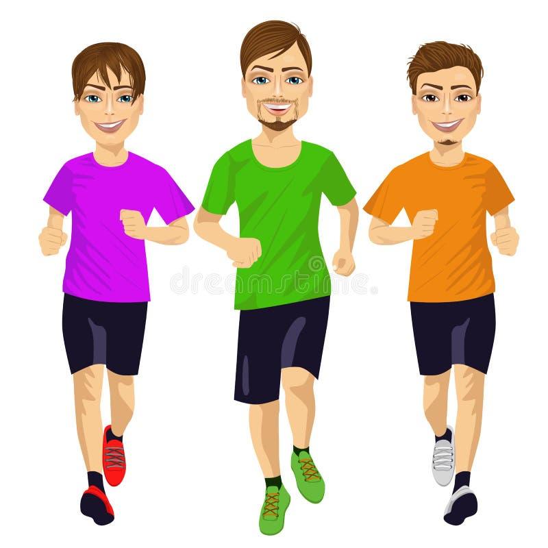 Unga löparemän som utomhus kör royaltyfri illustrationer