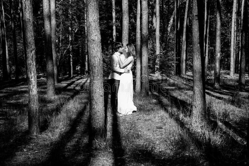 Unga lyckliga älska par tycker om ett ögonblick av lycka i den svartvita skogen royaltyfri fotografi