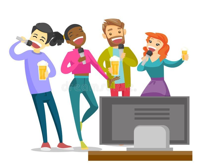 Unga lyckliga multietniska vänner som sjunger karaoke stock illustrationer