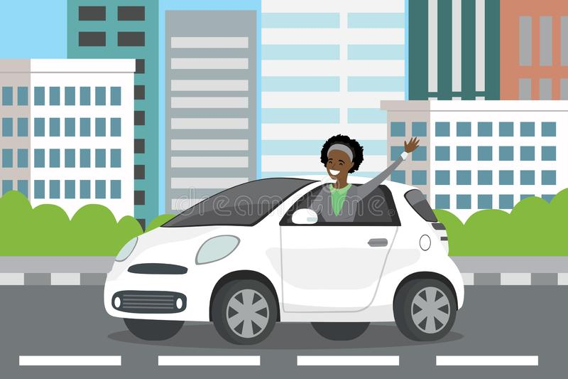 Unga lyckliga ritter för chaufför för afrikansk amerikankvinnaautomatisk i vit ca vektor illustrationer