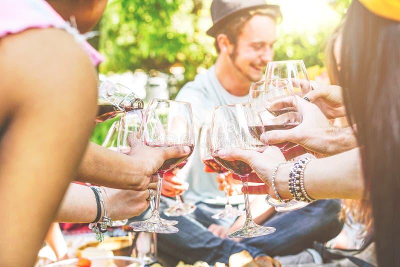 Unga lyckliga vänner som tillsammans hurrar och har gyckel i en picknick på trädgården - grupp människor som rostar med rött vine arkivbilder