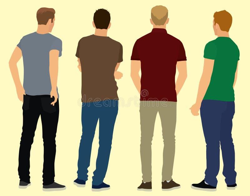 Unga män bakifrån stock illustrationer