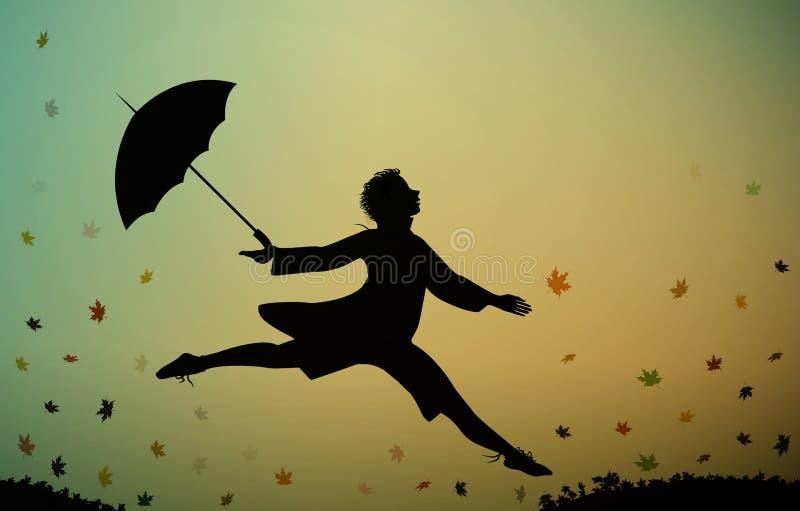 Unga män hoppar, och rymma paraplyet, rusar hösten tid som hoppar för glädje, royaltyfri illustrationer