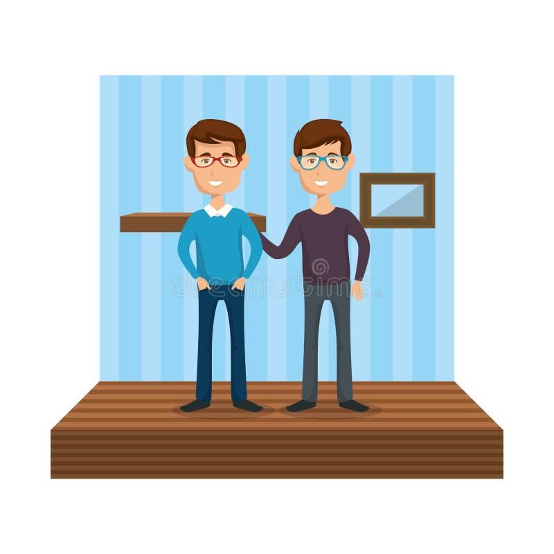 Unga män i korridorhuset royaltyfri illustrationer