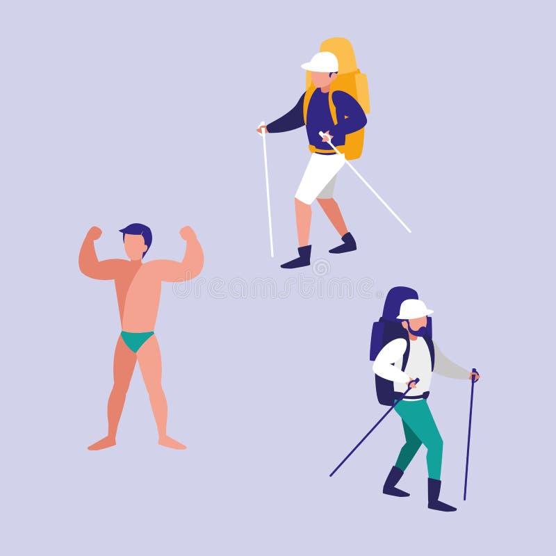 Unga män som öva sportar, isolerade symbolen royaltyfri illustrationer