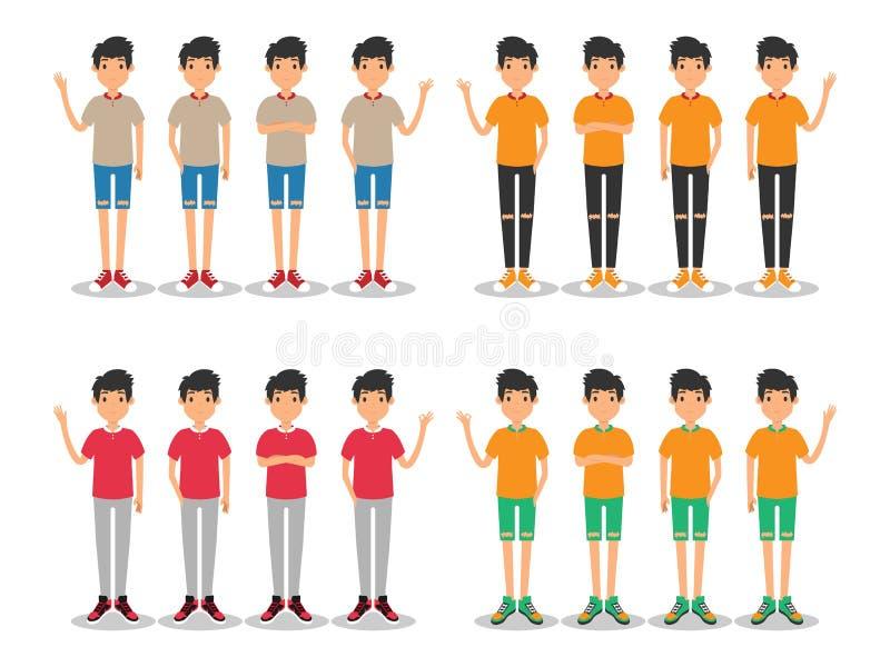 Unga m?n danar den moderna plana avataren vektor illustrationer