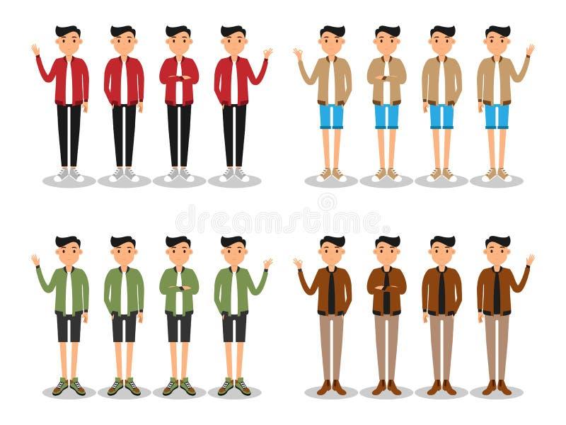 Unga m?n danar den moderna plana avataren stock illustrationer