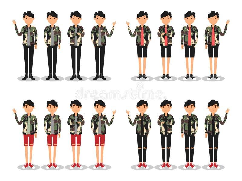 Unga m?n danar den moderna plana avataren royaltyfri illustrationer