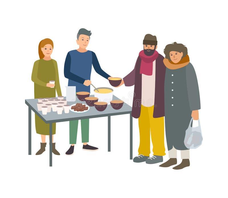 Unga man- och kvinnligvolontärer som matar fattigt hemlöst folk som isoleras på vit bakgrund Man och kvinna som ger mat till royaltyfri illustrationer