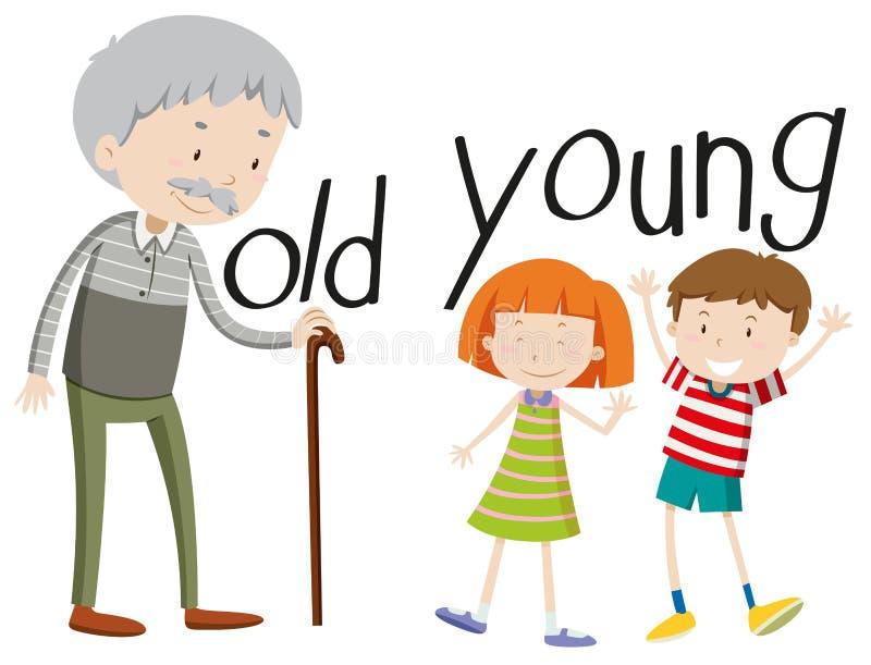 Unga motsatta adjektiv som är gamla och royaltyfri illustrationer