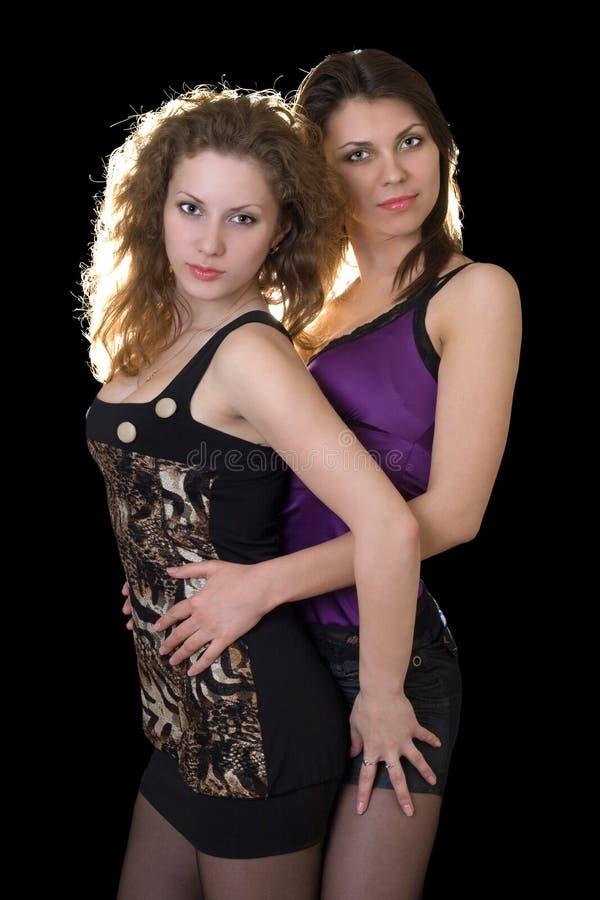 unga nätt två kvinnor arkivfoto