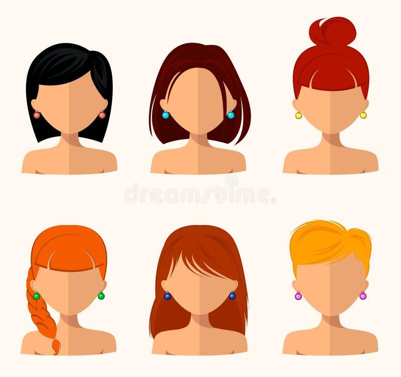 Unga nätta kvinnor, nätta framsidor med olika frisyrer, hårfärg Plan design stock illustrationer