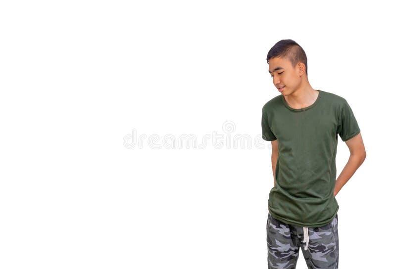 Unga och tunna thailändska pojkehänder i hans vita bakgrund för bakficka royaltyfri foto